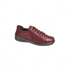 LINDSAY Ladies Leather Lace-Up Padded Shoes Burgundy