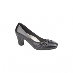 LISA Ladies Faux Leather Sash Detail Heeled Court Shoes Black