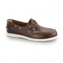 LITESIDES Mens Oiled Waxy Leather Boat Shoes Brown