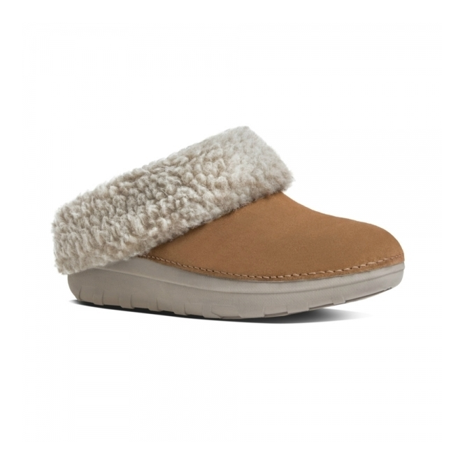 FitFlop™ LOAFF™ SNUG Ladies Suede Mule Slippers Chestnut