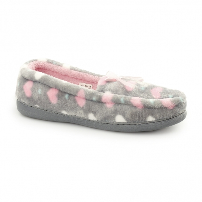 Fluffys LOCKHART Ladies Heart Slip On Loafer Slippers Grey