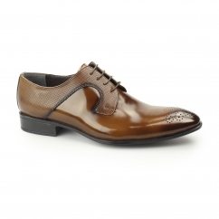 LOKE Mens Polished Leather Derby Brogues Tobacco