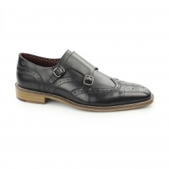CURTIS Mens Leather Wingtip Brogue Monk Shoes Black