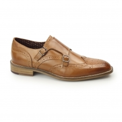 London Brogues CURTIS Mens Leather Brogue Monk Shoes Tan