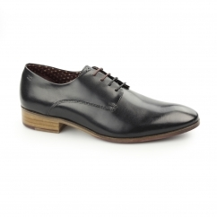 WISTER Mens Leather Plain Toe Derby Shoes Black