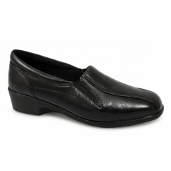 LORETTA Ladies Leather Wedge Loafers Black