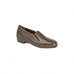 LORETTA Ladies Leather Wedge Loafers Brown