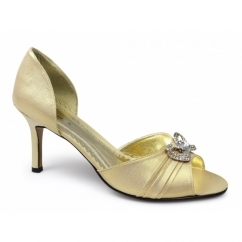 LORI Ladies Satin Diamante Stiletto Shoes Gold