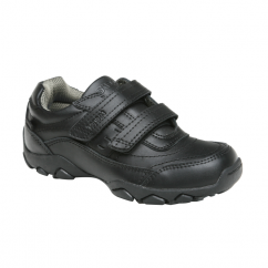 LOTUS Boys Leather Touch Fasten School Shoes Black