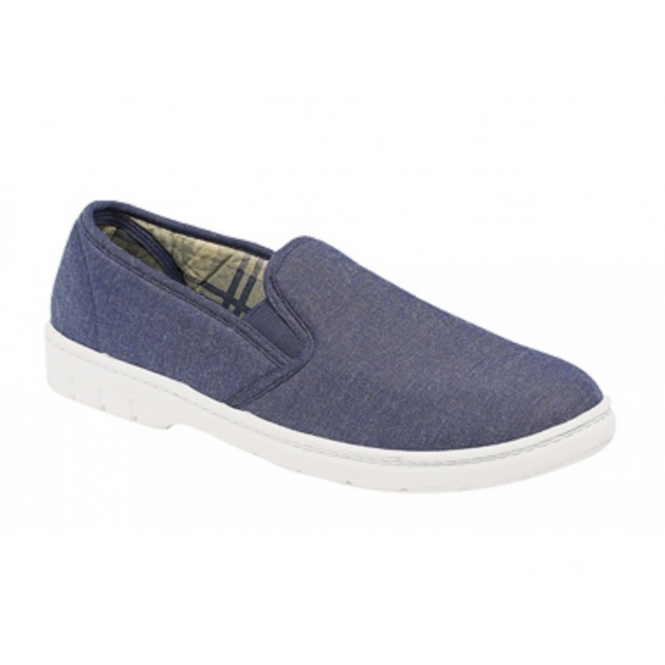 Gordini LOUIE Mens Twin Gusset Casual Canvas Shoes Navy