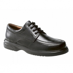 LOWELL Mens Leather Wide E Fit Shoes Black