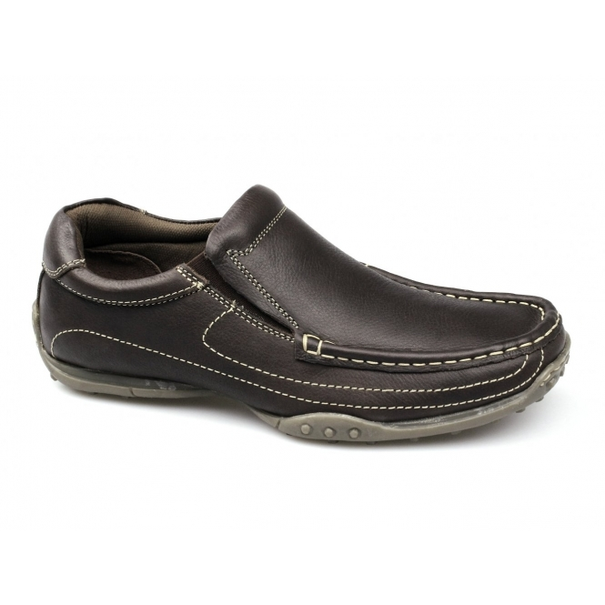 Catesby Shoemakers LUCAS Mens Leather Wide Fit Loafers Brown