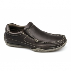 LUCAS Mens Leather Wide Fit Loafers Brown