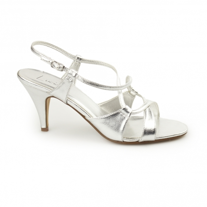 Lucia Ladies Evening Slingback Heel Sandals Silver