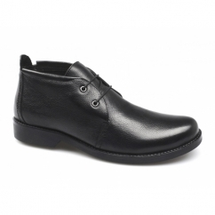 ALAIN Mens Leather Low Cut Chukka Boots Black