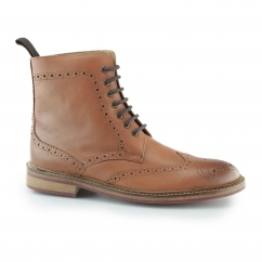 COHEN Mens Leather Brogue Derby Boots Tan