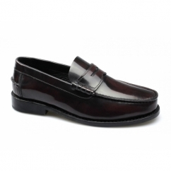CYRUS Mens Polished Leather Moccasin Penny Loafers Oxblood