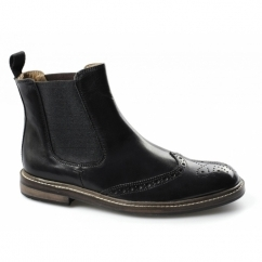 DUNCAN Mens Leather Brogue Chelsea Boots Black