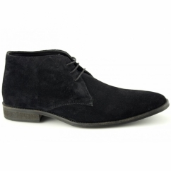 DUNN Mens Suede Lace Up Chukka Boots Black