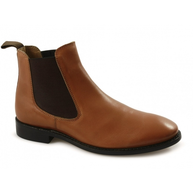 Lucini MONTGOMERY Mens Leather Chelsea Boots Tan