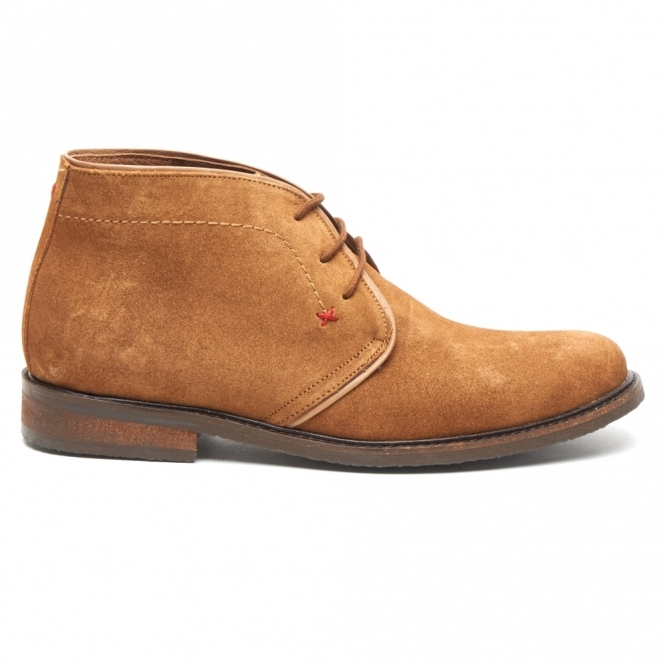 Lucini OSBORNE Mens Suede Lace Up Chukka Boots Cognac