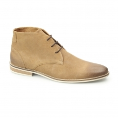 REECE Mens Oily Leather Chukka Boots Tan
