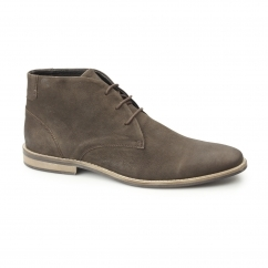 REECE Mens Oily Leather Desert Boots Brown