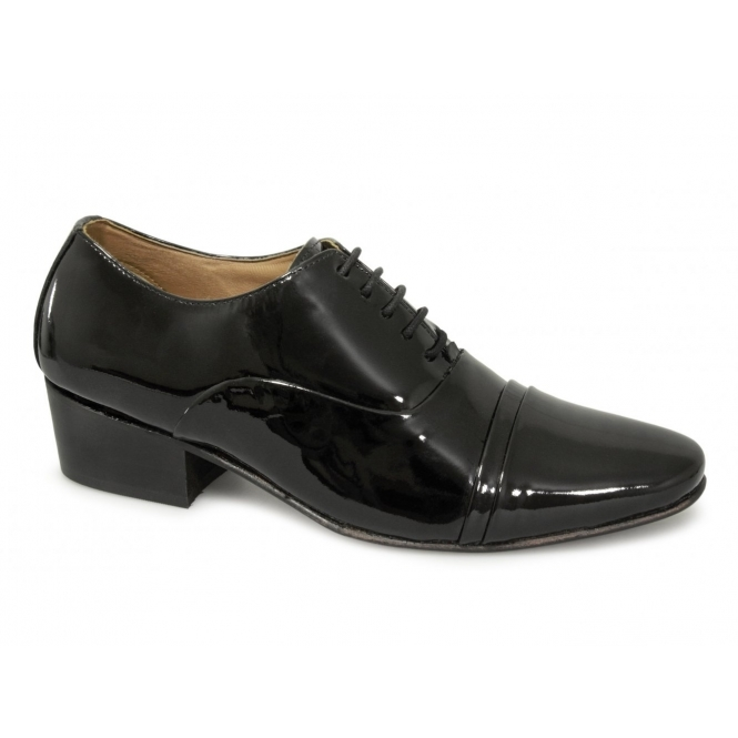 Lucini TONI Mens Patent Leather Lace Up Cuban Heel Shoes Black