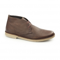 LUGER Mens Oil Pull Up Leather Desert Boots Brown