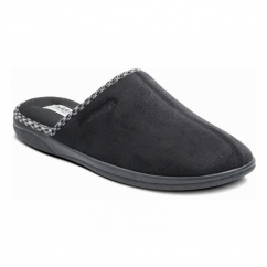 LUKE Mens Microsuede Wide (G) Fitting Mule Slippers Black
