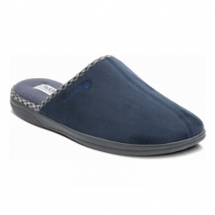 LUKE Mens Microsuede Wide (G) Fitting Mule Slippers Navy