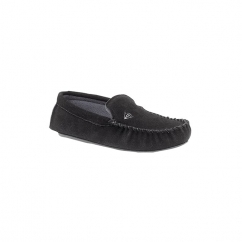 LUKE Mens Suede Moccasin Slippers Black