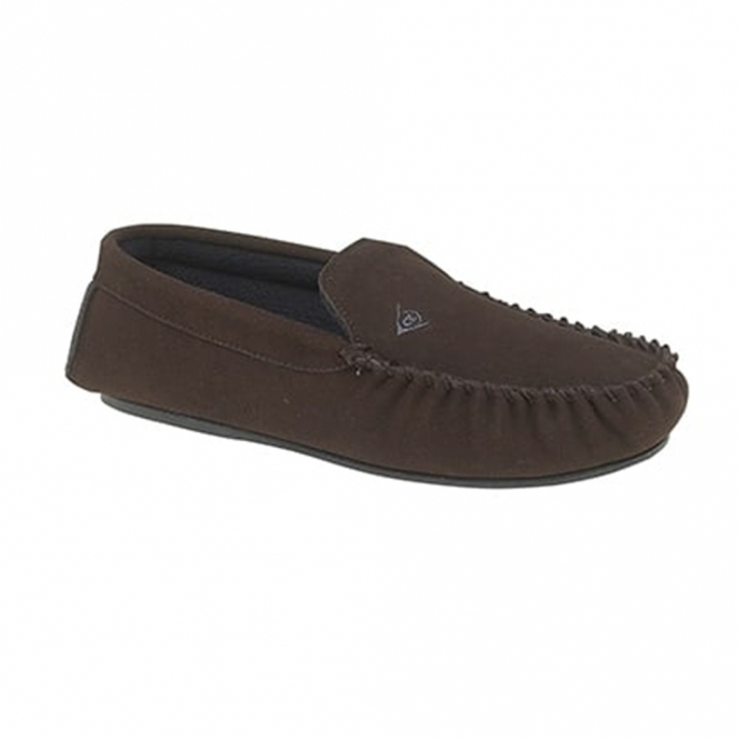 Dunlop LUKE Mens Suede Moccasin Slippers Brown