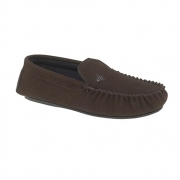 LUKE Mens Suede Moccasin Slippers Brown
