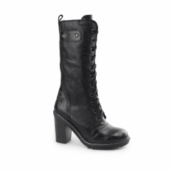 LUNSFORD Ladies Leather Tall High Heel Boots Black