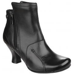LYDIE Ladies Leather Zip Heel Ankle Boots Black