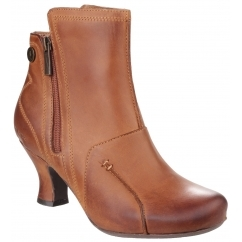 LYDIE Ladies Leather Zip Heel Ankle Boots Tan