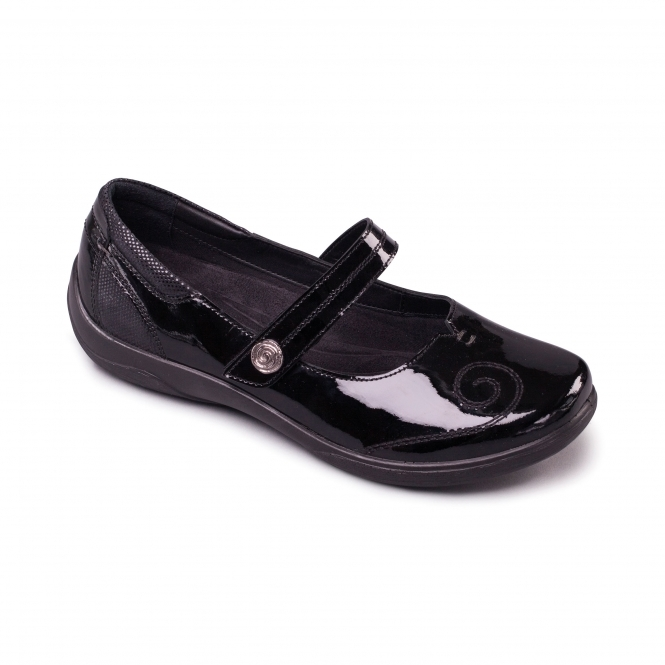 Padders LYRIC Ladies Extra/Super Wide Mary Jane Shoes Black