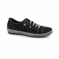 M6104-01 TEX Ladies Suede Lace Up Trainers Black