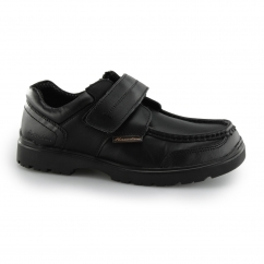 Macadam KIRK Boys Leather Touch Fasten School Shoes Black