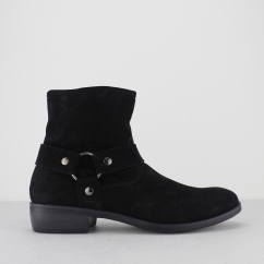 CALICO Mens Suede Leather Harness Zip Ankle Boots Black