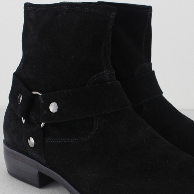 acd6e5d5d8a Machete CALICO Mens Suede Leather Harness Zip Up Boots Black | Shuperb