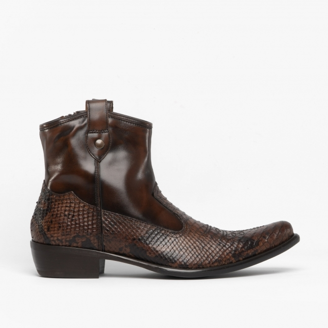 6a485df6a6a CROCKETT Mens Leather Reptile Cuban Heel Boots Python/Brown