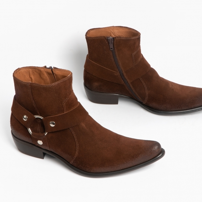 Machete NEVADA Mens Stylish Suede Leather Harness Zip Ankle Heel Boots Tobacco