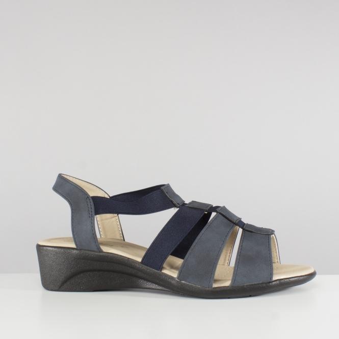 0411a7cbe Dr Keller MADELAINE Ladies Strappy Wedge Sandals Navy Blue   Shuperb