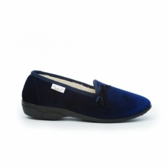 MADGE Ladies Textile Wide Fit Slippers Navy