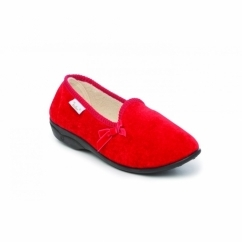 MADGE Ladies Textile Wide Fit Slippers Red