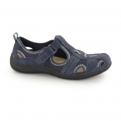 MADISON Ladies Suede Touch Fasten Sandal Shoes Navy Blue