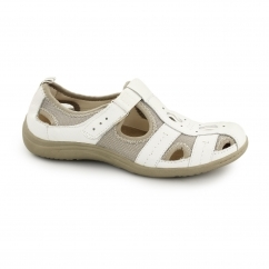 MADISON Ladies Suede Touch Fasten Sandal Shoes White