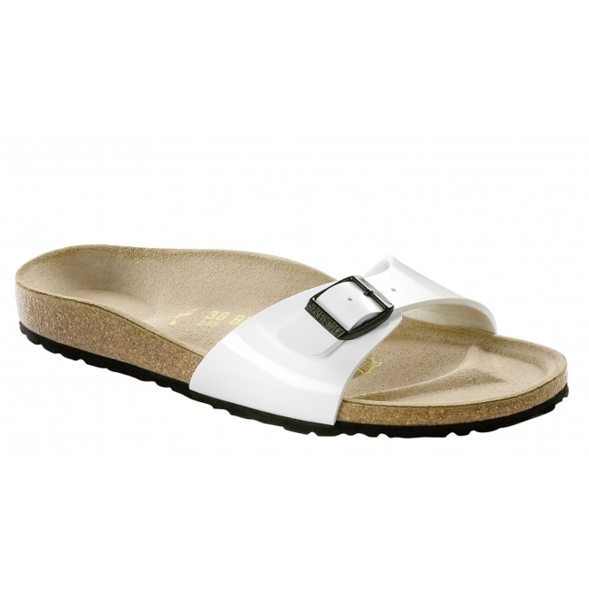 Birkenstock MADRID Ladies Buckle Mule Sandals Patent White